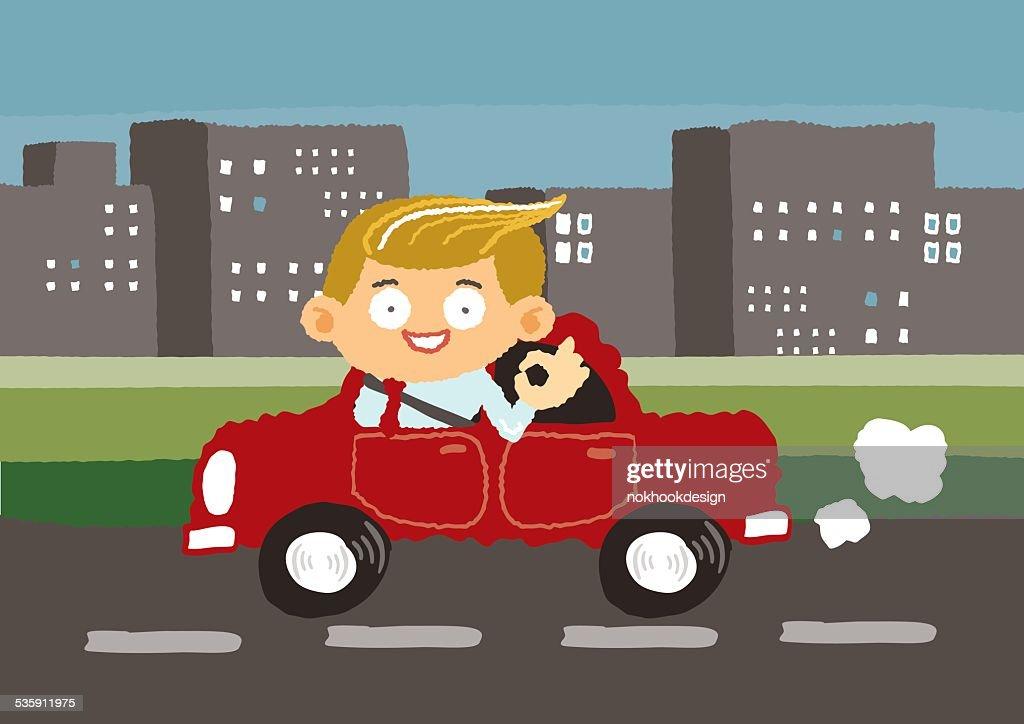 Homem de Negócios viagens de carro no centro da cidade-Ilustração vetorial desenho à mão livre : Arte vetorial