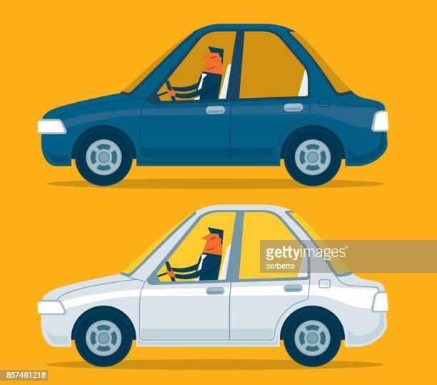 ilustraciones, imágenes clip art, dibujos animados e iconos de stock de empresario conducir un vehículo - conductor oficio