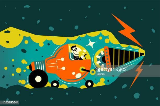 businessman driving an idea light bulb car with drill underground tunnelling - cryptocurrency mining stock illustrations