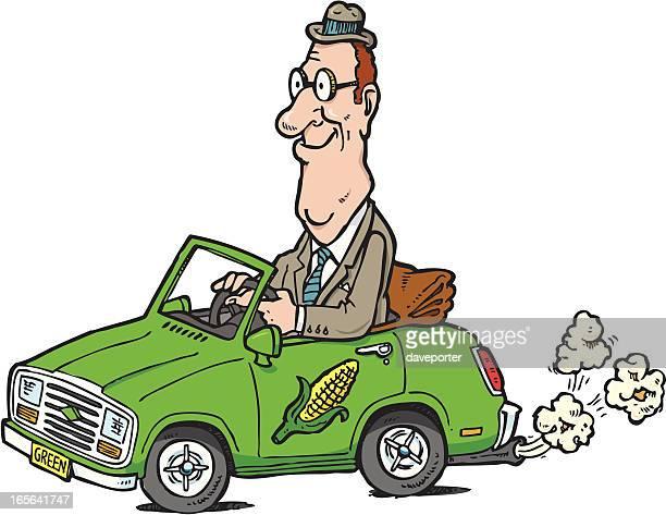businessman driving biofuel car
