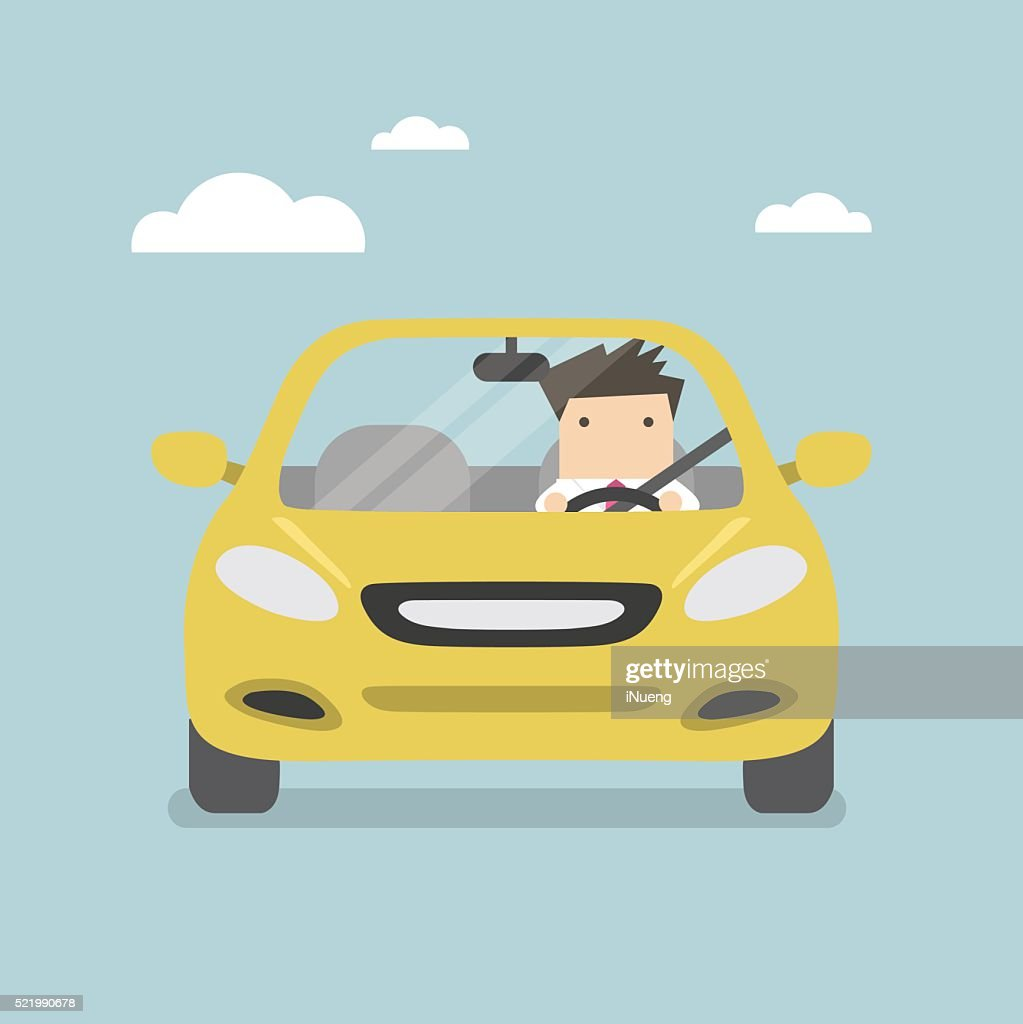 Businessman driving yellow car on the road