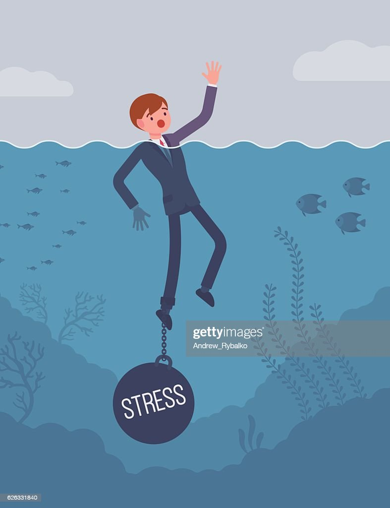 Businessman drowning chained with a weight Stress