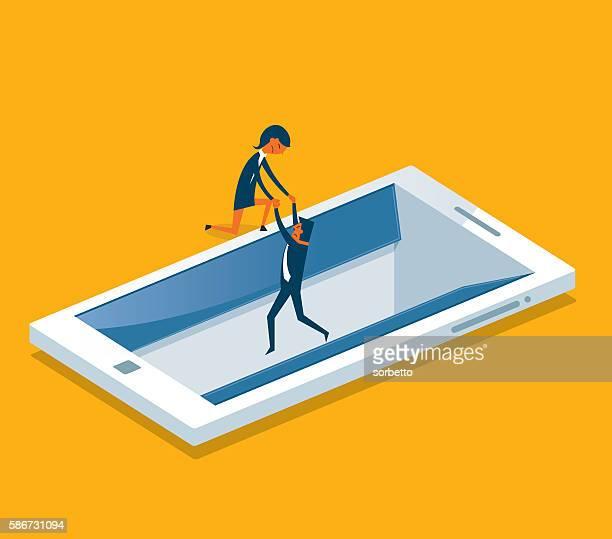 Geschäftsmann Ertrinken in einer digitalen tablet