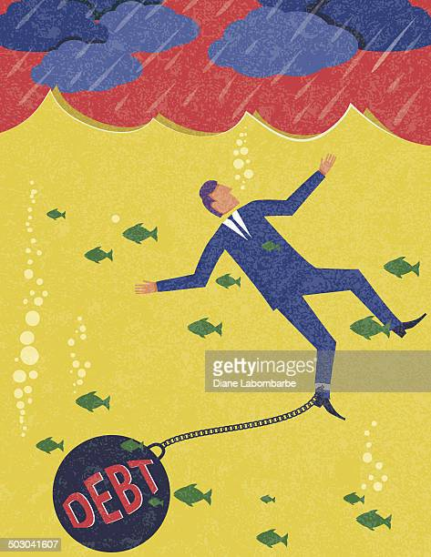 businessman drowning in debt - drowning stock illustrations, clip art, cartoons, & icons