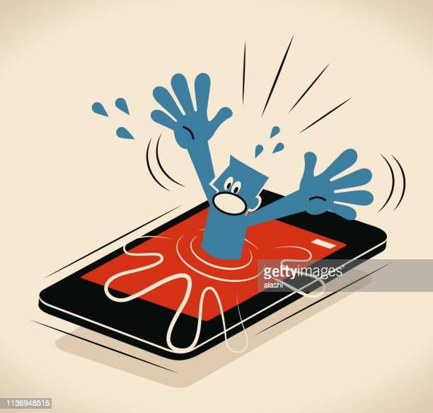 illustrations, cliparts, dessins animés et icônes de homme d'affaires se noyant (descendant) dans le téléphone intelligent - crouler sous le travail