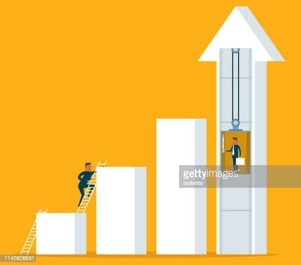 businessman - elevator - unfairness stock illustrations