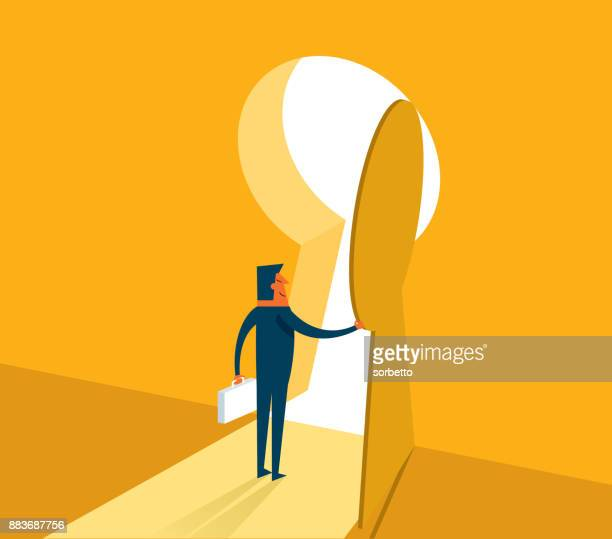businessman entering keyhole - leaving stock illustrations