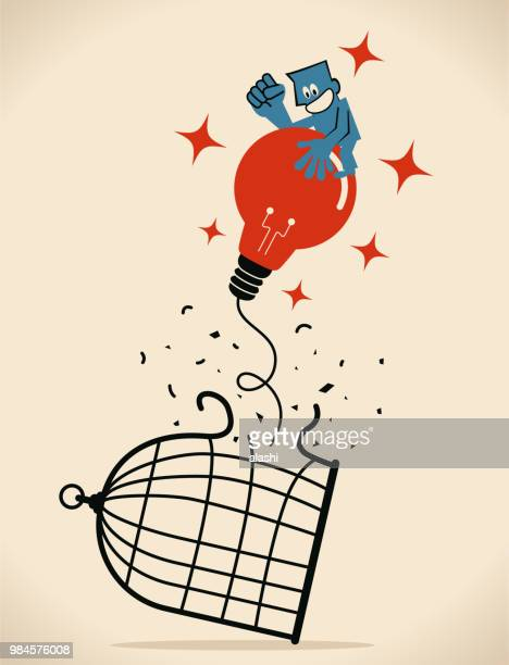 businessman escaping from the cage, flying in the sky (floating in the air) with a idea light bulb balloon - birdcage stock illustrations, clip art, cartoons, & icons