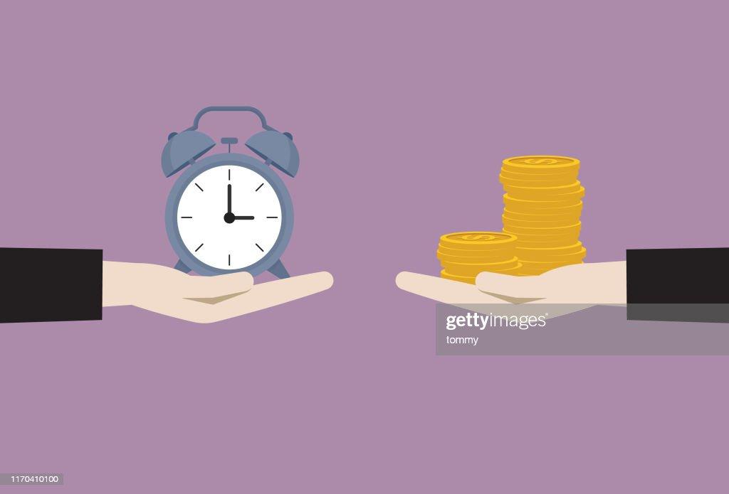 Zakenman uitwisseling tussen klok en geld : Stockillustraties