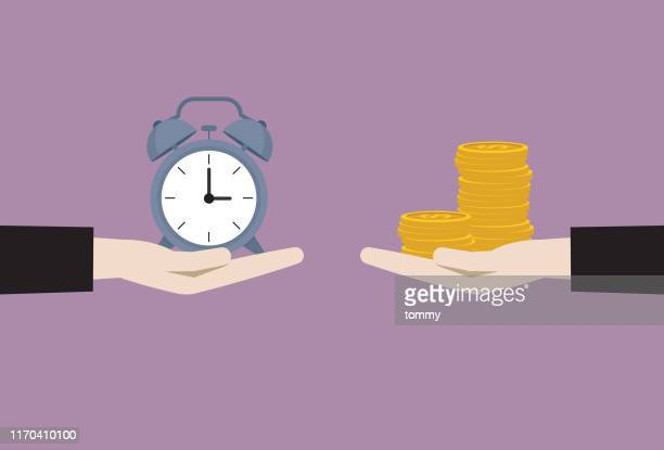 businessman exchange between clock and money - investment stock illustrations