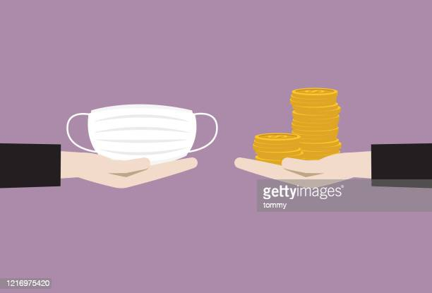 businessman exchange between mask and money - giving stock illustrations