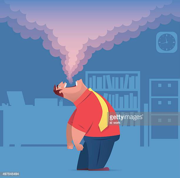 businessman exhaling in office