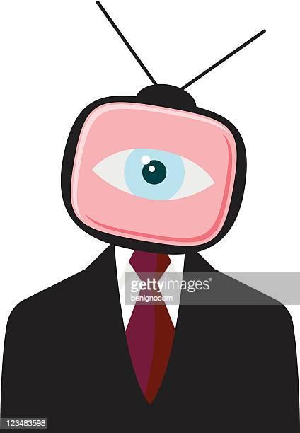 businessman eye from tv set - big brother orwellian concept stock illustrations, clip art, cartoons, & icons