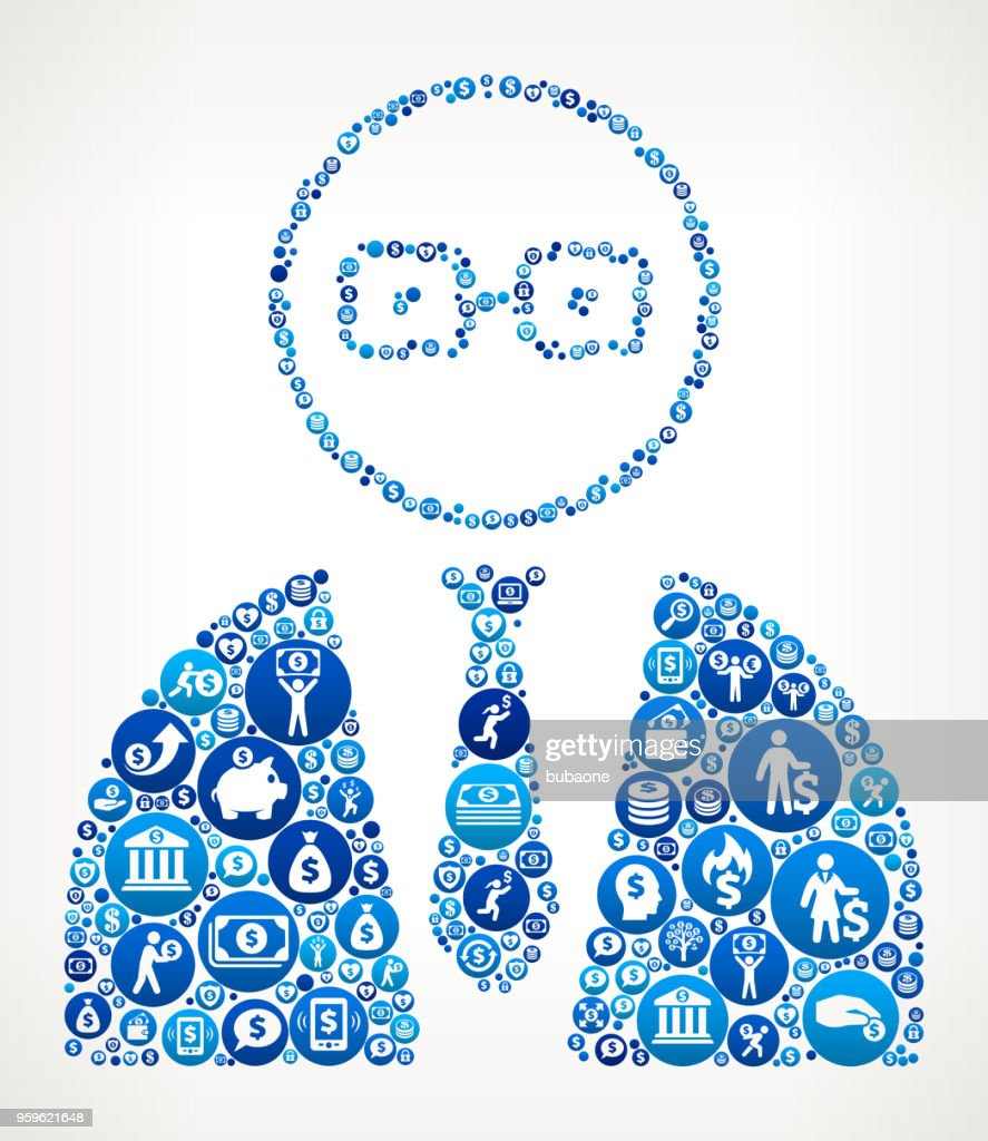 Geschäftsmann Gesicht Geld blaues Symbol Muster Hintergrund : Stock-Illustration