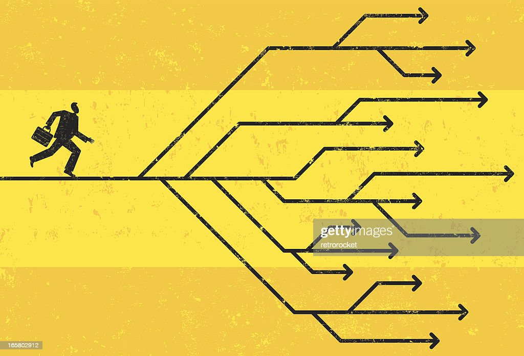 Businessman faced with directional choices : Vector Art