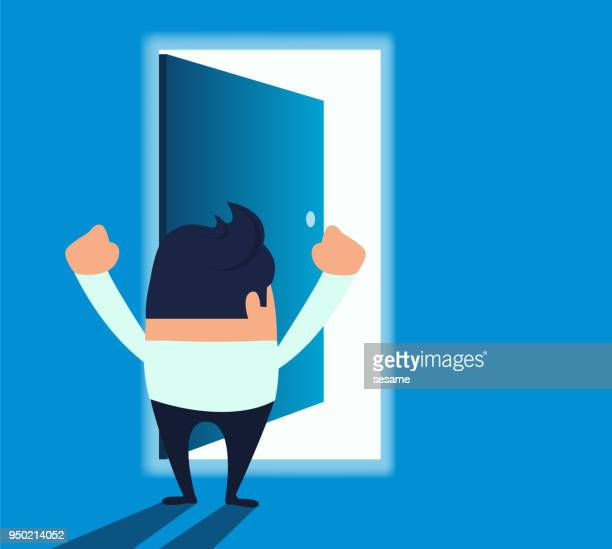 illustrazioni stock, clip art, cartoni animati e icone di tendenza di businessman facing an open door - libertà