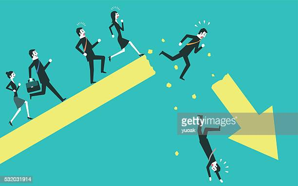 Businessman falling from a broken arrow