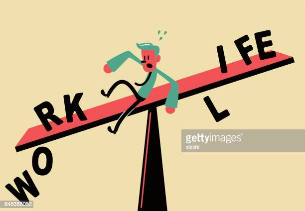 businessman falling from a seesaw, work life imbalance - unhealthy living stock illustrations, clip art, cartoons, & icons