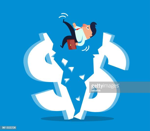 businessman falls from cracked dollar - deterioration stock illustrations, clip art, cartoons, & icons