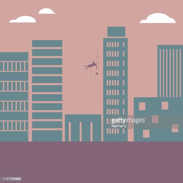illustrazioni stock, clip art, cartoni animati e icone di tendenza di uomo d'affari cade da edificio alto - grattacielo