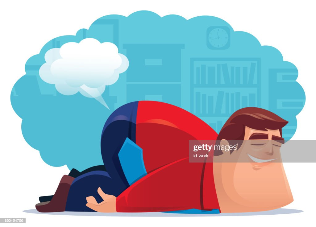 businessman farting and sleeping in office : stock illustration