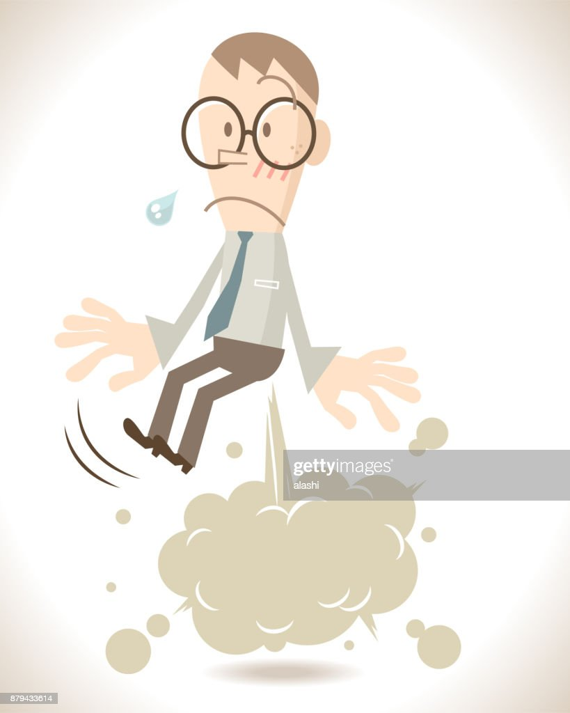 Businessman (Liar) farting (or cracking under pressure) with blank balloon (smoke) exploding out from his bottom, floating in the air (expose a lie) : stock illustration