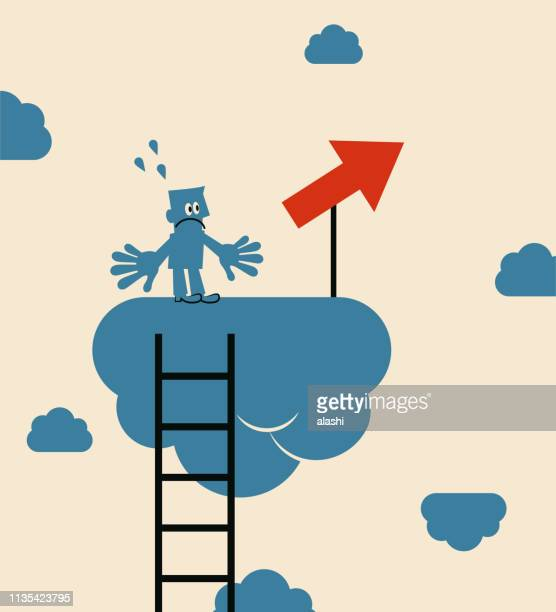 businessman feeling confused standing on cloud in the sky with upward arrow sign - wrong way stock illustrations, clip art, cartoons, & icons