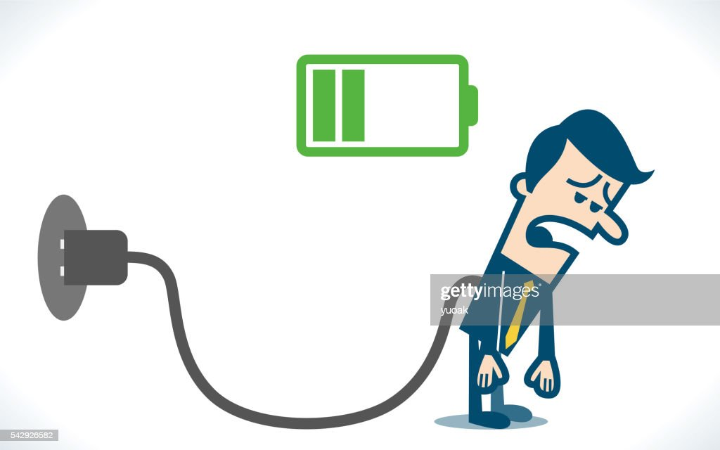 Businessman feeling tired and charging battery : Vector Art
