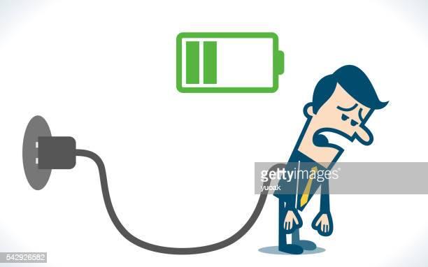 実業家疲れと充電バッテリ - チャージする点のイラスト素材/クリップアート素材/マンガ素材/アイコン素材
