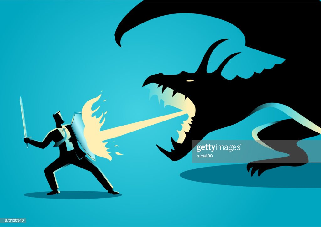 Businessman fighting a dragon
