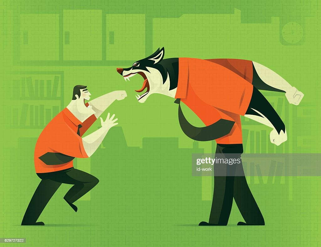 businessman fighting against business wolf : stock illustration