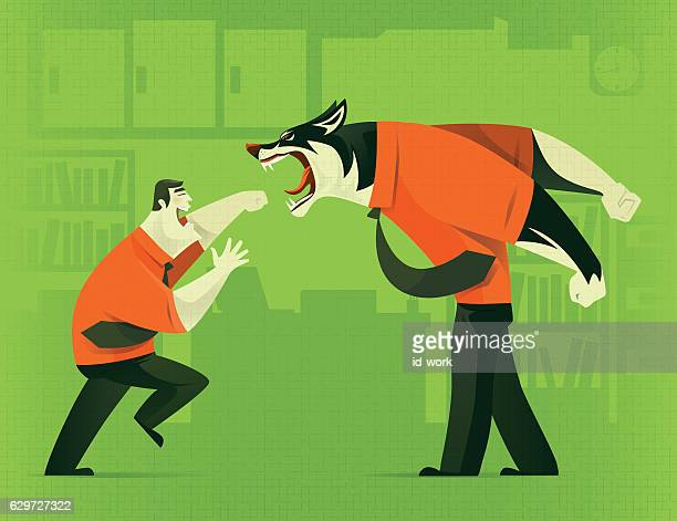 businessman fighting against business wolf - fighting stance stock illustrations, clip art, cartoons, & icons