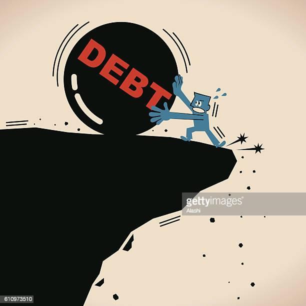 businessman fighting against iron ball (debt burden), almost falling off - crag stock illustrations, clip art, cartoons, & icons