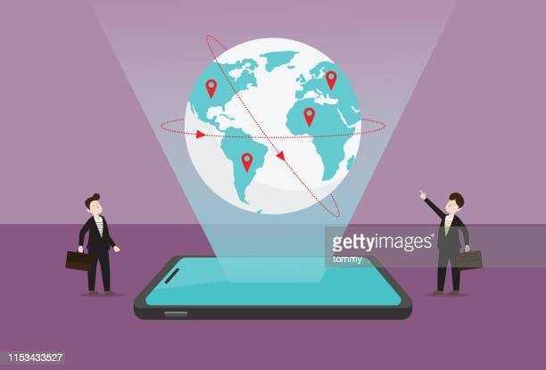businessman find global business opportunities by technology - globe navigational equipment stock illustrations