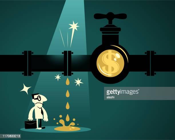 ilustraciones, imágenes clip art, dibujos animados e iconos de stock de empresario encuentra gasoducto con señal de dólar - impuestosobrelarenta