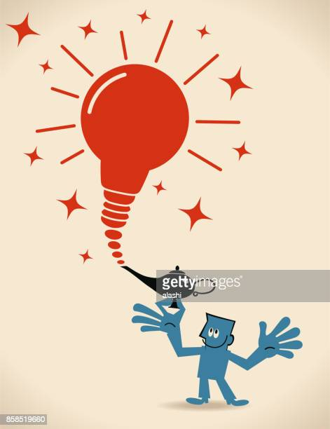 Businessman finds a magic lamp and unleashes the charismatic idea light bulb within