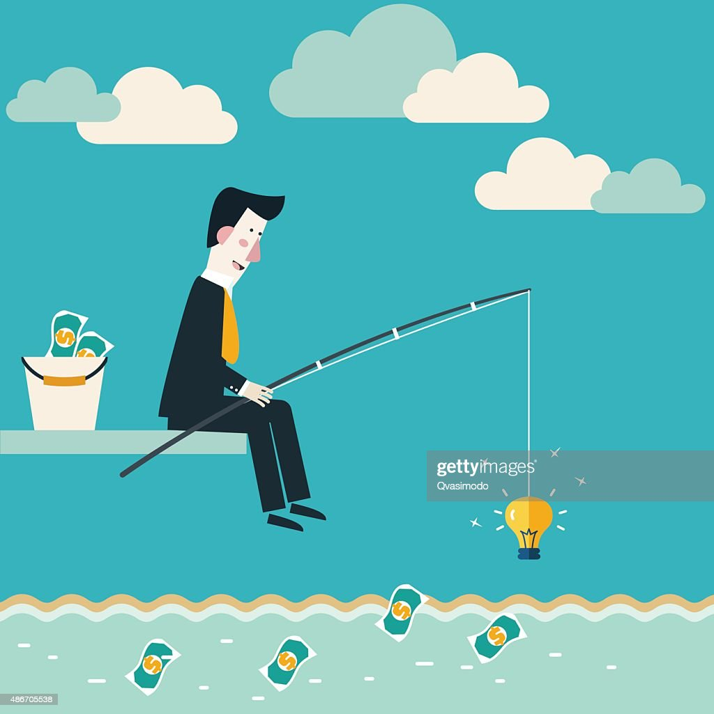 Businessman fishing dollar money. Idea attracting money. Make money from idea