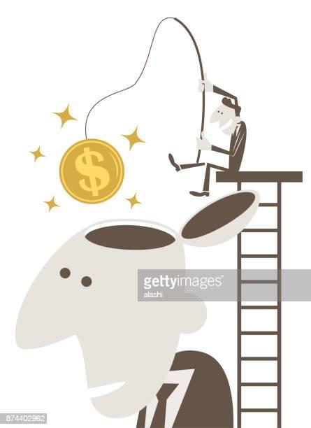 ilustraciones, imágenes clip art, dibujos animados e iconos de stock de empresario de la pesca en escala por encima de la cabeza abierto hombre gigante y coger una moneda de signo de dólar - personas cabeza grande