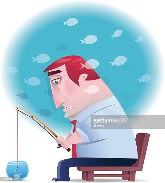 businessman fishing - slow stock illustrations, clip art, cartoons, & icons