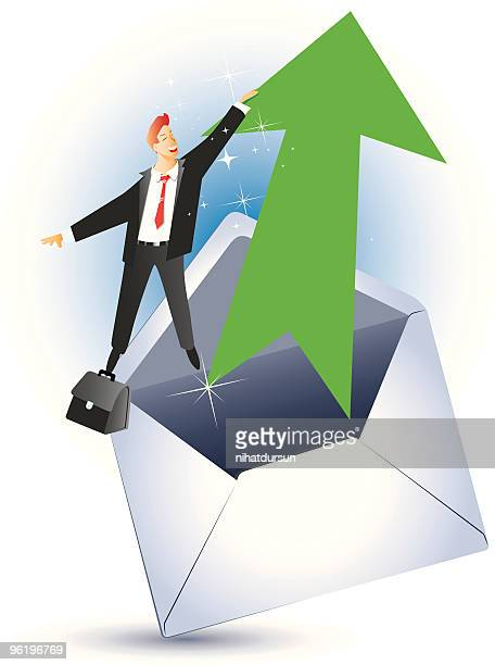 Businessman flying by holding a magical arrow