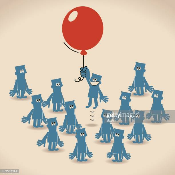 businessman flying out from the crowd with red balloon - adult stock illustrations, clip art, cartoons, & icons