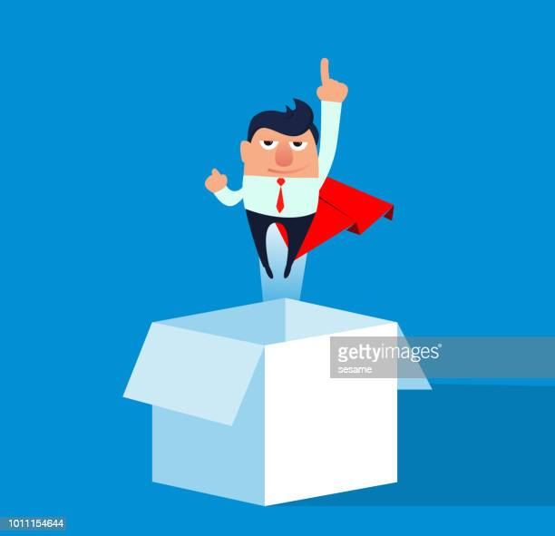 Businessman flying out of the box