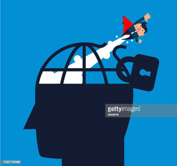 Businessman flying out of the cage on his head