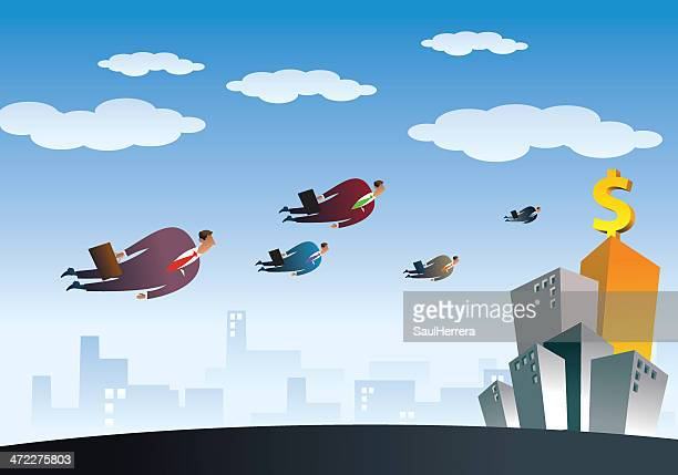 Businessman Flying to New Opportunity