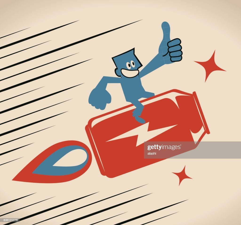 Businessman flying with energy drink can jet rocket, showing thumbs up hand sign : stock illustration