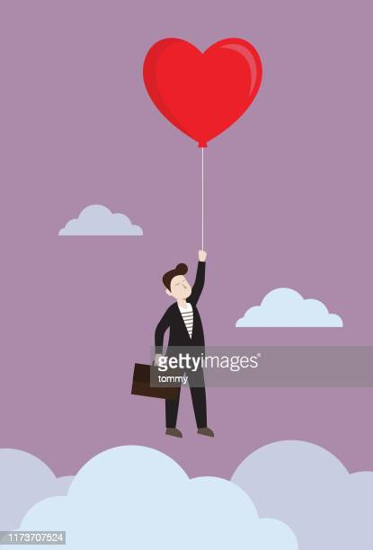 businessman flying with heart balloon - passion stock illustrations