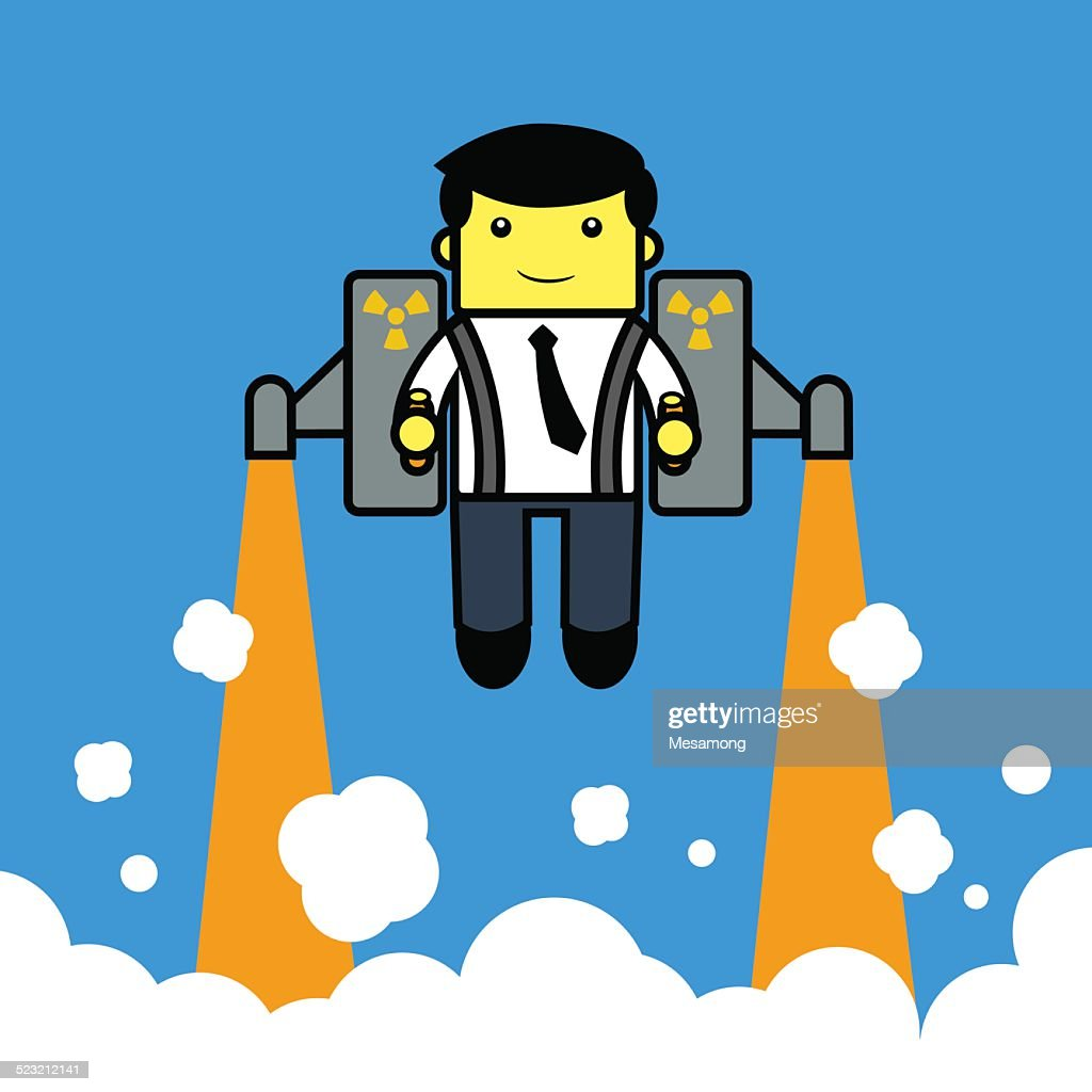 Businessman flying with. jetpack.