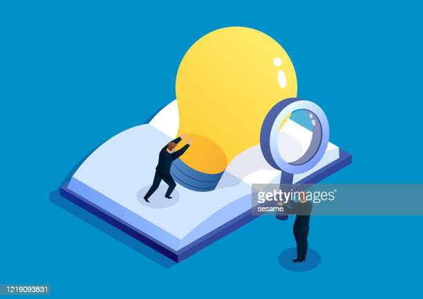 businessman found a shiny light bulb from the book - disembarking stock illustrations