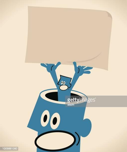 ilustraciones, imágenes clip art, dibujos animados e iconos de stock de empresario del hombre gigante abrió la cabeza con un cartel en blanco marrón de papel - personas cabeza grande