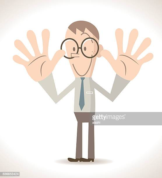 Businessman gesturing number 10, two hand raised (palm hand sign)